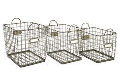 S/3 Assorted Newbridge Storage Baskets on OneKingsLane.com