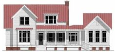 Ooh ooh ooh! Love these plans! This is TNH-LC-10A (LC = large cottage) by Moser Design Group. This plan is 2,457 square feet with 3 bedrooms and 2.5 bathrooms. 10′ ceilings on the first floor…