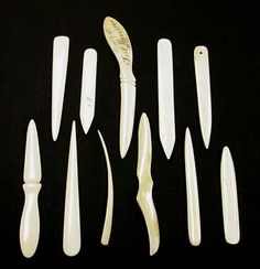 These variously-shaped pieces of bone are used for functions such as smoothing, scoring, & creasing paper & cloth, & working materials into tight corners. The bone folder is polished to a smooth finish to avoid damaging the materials it is used to manipulate, but w/ sufficient (or excessive) pressure its edge is sharp enough to cut paper or cloth. It is best to keep the bone folder clean & free of glue so it slides & burnishes nicely.