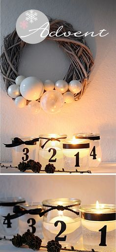 Inspirations et idées pour Noël : christmas decor lights candles jars advent Decoration Christmas, Xmas Decorations, Christmas Wreaths, Christmas Crafts, Advent Candles, Candle Jars, Christmas Mood, Diy Weihnachten, Christmas Inspiration