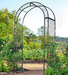 Powder Coated Iron Scrollwork And Lattice Garden Arbor $118.98 Plow And  Hearth.com