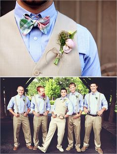 I really like the groomsmen just wearing vests not jackets -- makes them look different from the groom and more relaxed