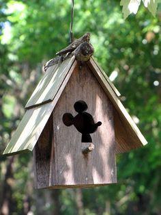 Mickey Mouse birdhouse, Disney World decorating, Disney landscaping ideas, Bird Cages, Bird Feeders, Casa Disney, Disney Garden, Mickey House, Disney Mouse, Little Houses, Bird Houses, Beautiful Birds