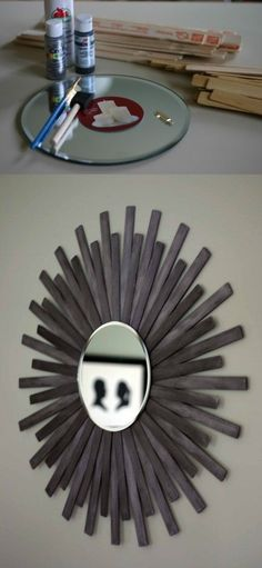 DIY Sunburst Wall Mirror Of Paint Sticks. Quick, cheap, and easy! You can paint the sticks any color to go with your decor. This would look awesome over a bed or great in an entry way! #diy #sunburstmirror