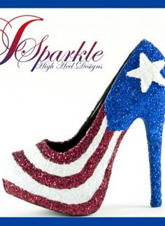 Puerto Rican High Heel PUMP,  Shoes, Glitter  e 600  white  blue  red, For anyone that loves something different
