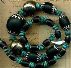 "Old Southwest Chevron Trade & Turquoise Beads Black/White~Bird~6 Layer~ 17"""