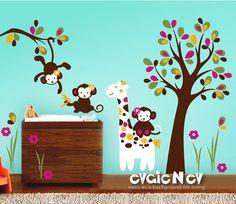 Children Wall Decal Wall Sticker - Monkeys and Giraffe Baby Room Decor - Nursery Wall Stickers for Children - PLMC010L. $159.00, via Etsy.