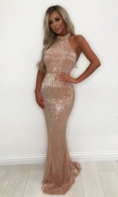 a8e7797d48 Winning Hearts Champagne Sequin Sleeveless Mock Neck Halter Mermaid Ma –  Indie XO Sequin Bridesmaid Dresses