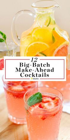 12 Big Batch Make Ahead Alcoholic Pitcher Cocktails. These boozy drinks or bever. - 12 Big Batch Make Ahead Alcoholic Pitcher Cocktails. These boozy drinks or beverages are great if y - Party Drinks Alcohol, Alcohol Drink Recipes, Cocktail Drinks, Fun Drinks, Fun Summer Drinks Alcohol, Brunch Drinks, Refreshing Alcoholic Drinks, Refreshing Summer Drinks, Bachelorette Party Drinks