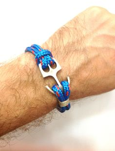 Nautical Sailing Bracelet  with Anchor Claps-Paracord Bracelet-Mens Bracelet-Rope Bracelet-BLUE. $17.00, via Etsy.