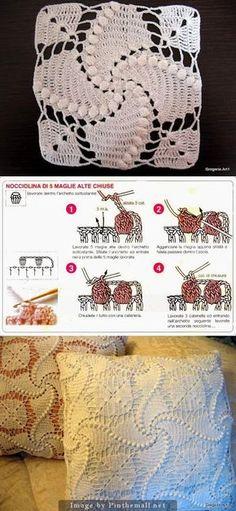 The popcorn stitch curve lines Crochet Bedspread, Crochet Quilt, Crochet Blocks, Crochet Pillow, Crochet Afghans, Crochet Squares, Crochet Home, Filet Crochet, Diy Crochet