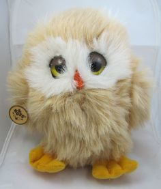 "Vintage Russ Berrie Plush 8"" Golden Brown Owl Oogli #487 Stuffed Animal Toy"