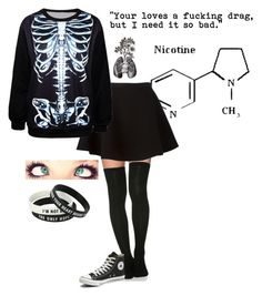 """""""Nicotine"""" by redcurlz on Polyvore featuring Neil Barrett, Converse, women's clothing, women's fashion, women, female, woman, misses and juniors"""