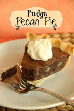 Fudge Pecan Pie - refrigerated pie crust - butter - brown sugar - 4 large eggs - chocolate chips - instant espresso coffee granules - vanilla - flour - chopped pecans - whipped cream or Cool Whip