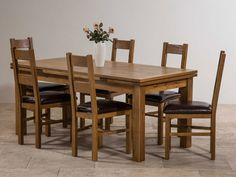 Rustic Solid Oak Dining Set - 6ft Extending Table with 6 Farmhouse and Brown