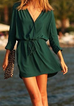 Green Plain Drawstring V-neck Long Sleeve Chiffon Mini Dress - Mini Dresses - Dresses