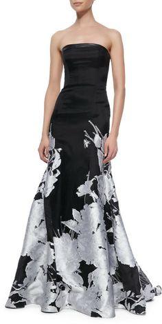 Pamella Roland Strapless Floral Hem Gown Black White #TopshopPromQueen