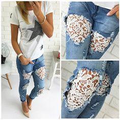 Inspiração: Calça Jeans com Renda Diy Fashion, Fashion Outfits, Autumn Fashion, Vetement Fashion, Denim Ideas, Denim Crafts, Denim And Lace, Diy Lace Jeans, Clothing Hacks