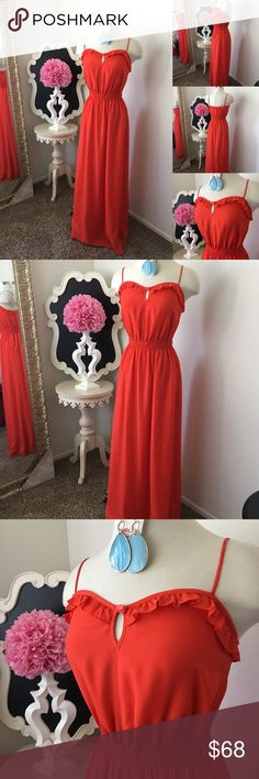 🌺BCBGeneration Orange Maxi Dress w/ Ruffle Design 🌺BCBGeneration Beautiful Orange Maxi Dress w/ Ruffle Design - Front Keyhole -  Ruffle Around Top Trim - Adjustable Straps Dress is Lined  $88 - New Size: XS  Fabric : 100% Polyester  🌺 Accessories Not Included But Are also for Sale  Please Check out my Other Items in my GIRLe B Posh Shoppe'  Like us on FB   www.facebook.com/girleboutique Thanks For Looking & Always Let your Clothes get All the Attention 💋 ❌⭕️, Christina BCBGeneration…