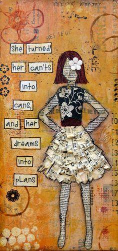 Mixed Media Original Art - Dreams into Plans. $45.00, via Etsy.     I love collage art. :-)
