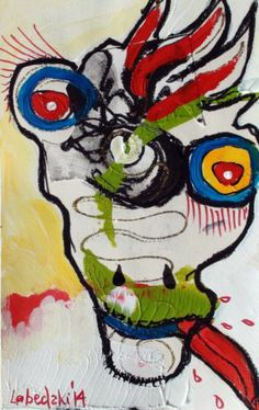 Original LABEDZKI Abstract Figurative Art Out of Breath 5x8 inch Mixed Media | eBay