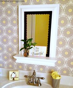 DIY:: Cottage Decor- Scalloped Trim {Easy Mirror Makeover}