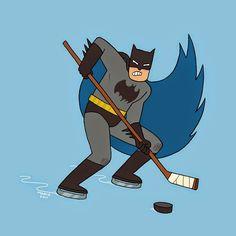 Maybe Batman can solve the NHL lockout. He's the hero hockey needs. Superhero Pop Art, Superhero Room, Hockey Mom, Ice Hockey, Hockey Stuff, Hockey Pants, Roller Hockey Skates, Hockey Bedroom, Nerd