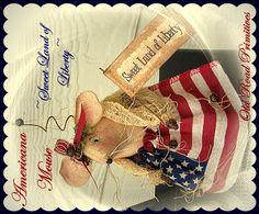 Sweet Land of Liberty Americana Mouse Pattern-Americana,Mouse,Liberty,Pattern,e-Pattern,Old Road Primitives,Vintage,Primitives,Patterns,Prims,