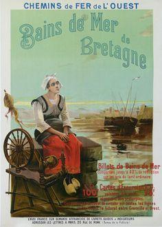 chemins de fer de l'ouest - Bains de mer de Bretagne - illustration de H. Colb - 1900 - France -