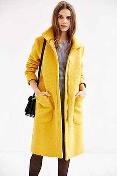 Edith & Ella Yellow High-Neck Coat
