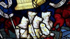 Knights bound in the great river Euphrates, in a York Minster stained glass window