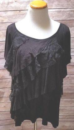 40b2607d6f5 I.N. Studio Women s Plus size 2X Stretch Black Ruffled Lace Short Sleeve  Top  INStudio