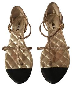 aaaf9dd6eb983a Chanel Quilted Leather Thong (41 1 2) Gold Sandals. Get the must