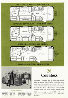 1963 Streamline Trailer Brochure page featuring the 26 ft Countess model