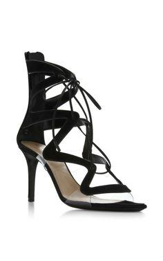 Double S Laceup Sandal In Black by Nicholas Kirkwood for Preorder on Moda Operandi