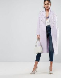 Lavender Coat with pearl details. Found on ASOS.