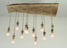 Salvaged Live Edge Wood Chandelier with Victorian by urbanchandy