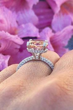 Such a pretty & unique piece! This morgainte ring is crafted in solid rose gold with a round shaped morganite set into a gorgeous floral basket setting. Simple & classic ring to adore your love. A pinkish peach morganite is a center focal point. Stackable Diamond Rings, Unique Diamond Rings, Diamond Solitaire Rings, Diamond Cluster Ring, Diamond Wedding Rings, Unique Rings, Budget Friendly Engagement Rings, Engagement Rings Under 1000, Cheap Engagement Rings