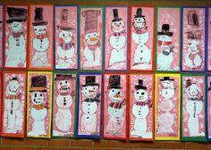 Kindergarten Snowmen - crayon and tempera paint