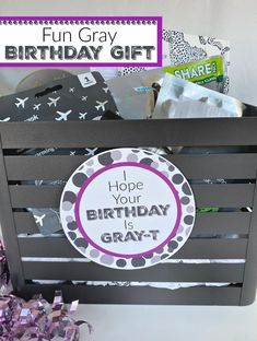 Fun Birthday Gift. This gray themed gift is the perfect friend gift, or for anyone who loves gray. #fungift #graygift #fungiftidea