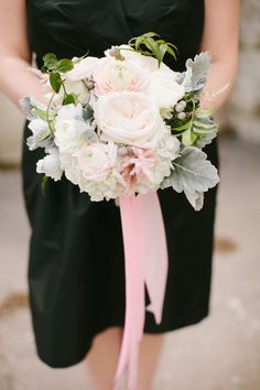 pale pink garden roses, astilbe and ranunculus tied up with ribbon  Photography by http://www.katiekettphotography.com/  Read More: http://www.stylemepretty.com/2014/06/30/romantic-chicago-wedding-of-orange-is-the-new-black-star/
