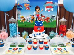 Paw Patrol cake, cookies and cupcakes by www.savvycakes.com.au  Table by Sweet Finesse Event Styling, Sydney