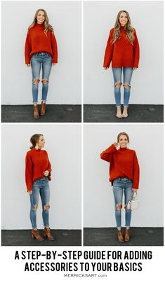 A Step By Step Guide for Adding Accessories to an Outfit four easy steps to take a basic outfit and make it perfect for fall with accessories! Basic Outfits, Casual Fall Outfits, Simple Outfits, Cool Outfits, Winter Layering Outfits, Layered Outfits, Summer Outfits, Style Désinvolte Chic, Style Casual