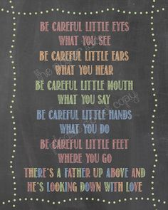 Kids Bible Song Oh be careful little eyes what you by ThePaperLace