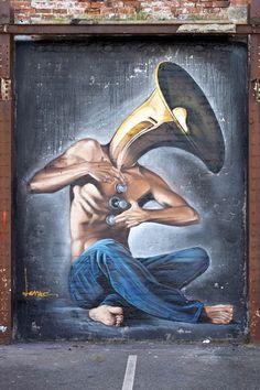 "Street art | Mural ""Holy Melancholy"" (Blackpool's Urban Art Festival 2013, England) by Lonac"