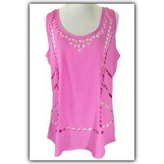Sabine Laser cut rose pink tank top, sz, M Bundle discounts available! Sorry no trades  Sabine Tops Tank Tops