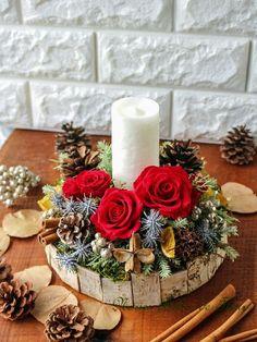 Rustic Christmas Crafts, Rose Gold Christmas Decorations, Christmas Flower Arrangements, Christmas Wood, Christmas Centerpieces, Christmas Ornaments, Christmas Makes, Simple Christmas, Xmas Wreaths
