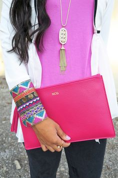 Embellished White Jacket // @kendrascott Benning Necklace, @tremembered colorful leather pouch, @Official_SheIn sequin sleeve jacket, date night outfit, what to wear, blogger style, tassel necklace
