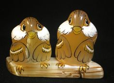 #Selenite #figurine #Two #Sparrows on a #log #birds# #hand #painted on #natural #stone #Animals