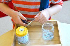 Otis snipping thread Montessori Sewing Ideas at How we Montessori Ball of thread in jar Mais Montessori Trays, Montessori Preschool, Montessori Materials, Montessori Elementary, Maria Montessori, Learning Activities, Preschool Activities, Dinosaur Activities, Weaving For Kids